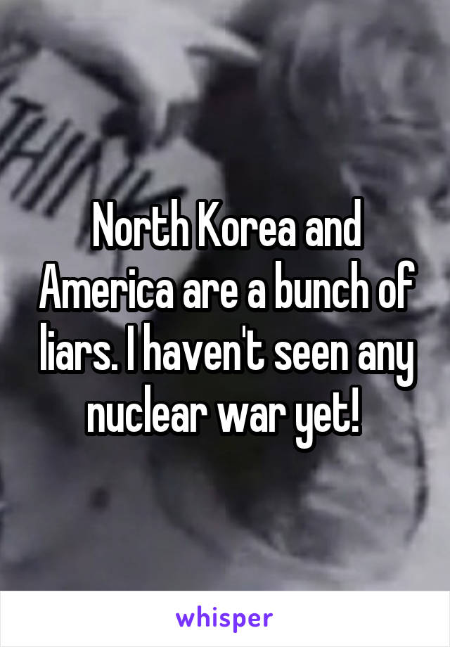 North Korea and America are a bunch of liars. I haven't seen any nuclear war yet!