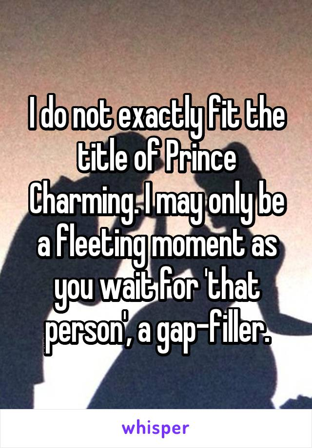 I do not exactly fit the title of Prince Charming. I may only be a fleeting moment as you wait for 'that person', a gap-filler.