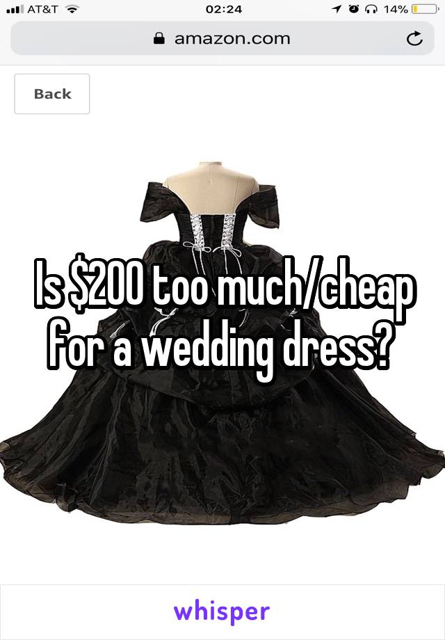 Is $200 too much/cheap for a wedding dress?