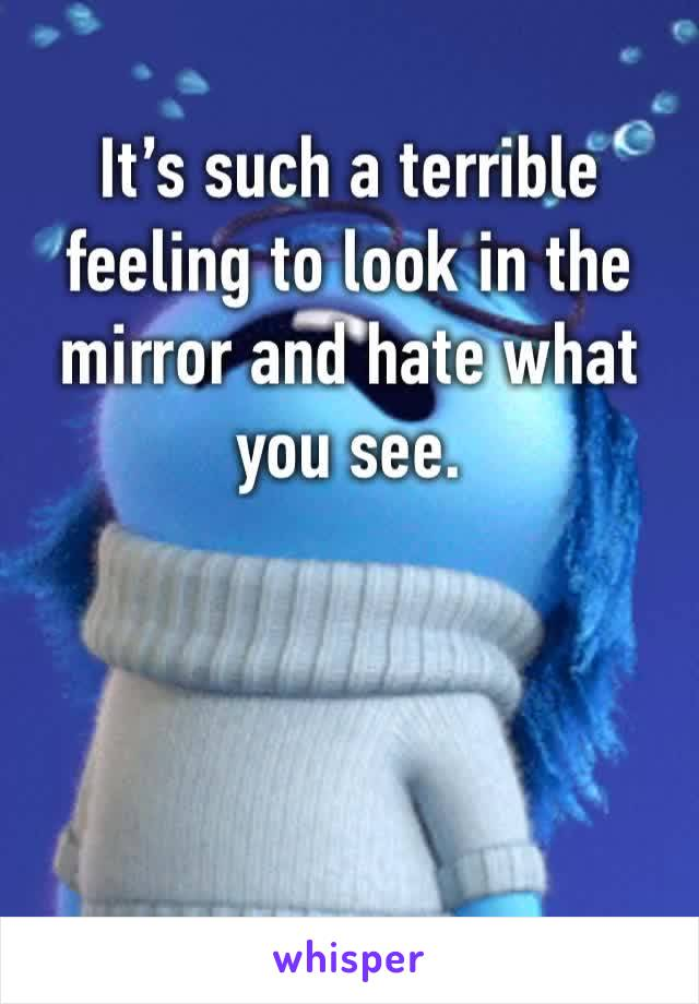 It's such a terrible feeling to look in the mirror and hate what you see.