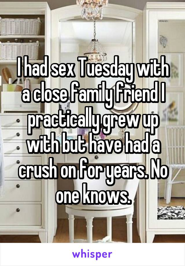 I had sex Tuesday with a close family friend I practically grew up with but have had a crush on for years. No one knows.