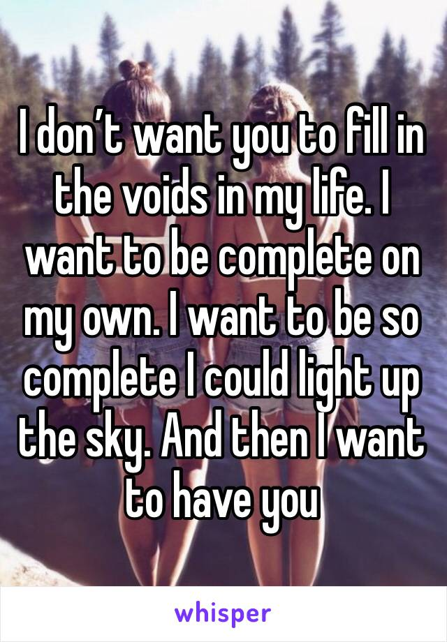 I don't want you to fill in the voids in my life. I want to be complete on my own. I want to be so complete I could light up the sky. And then I want to have you