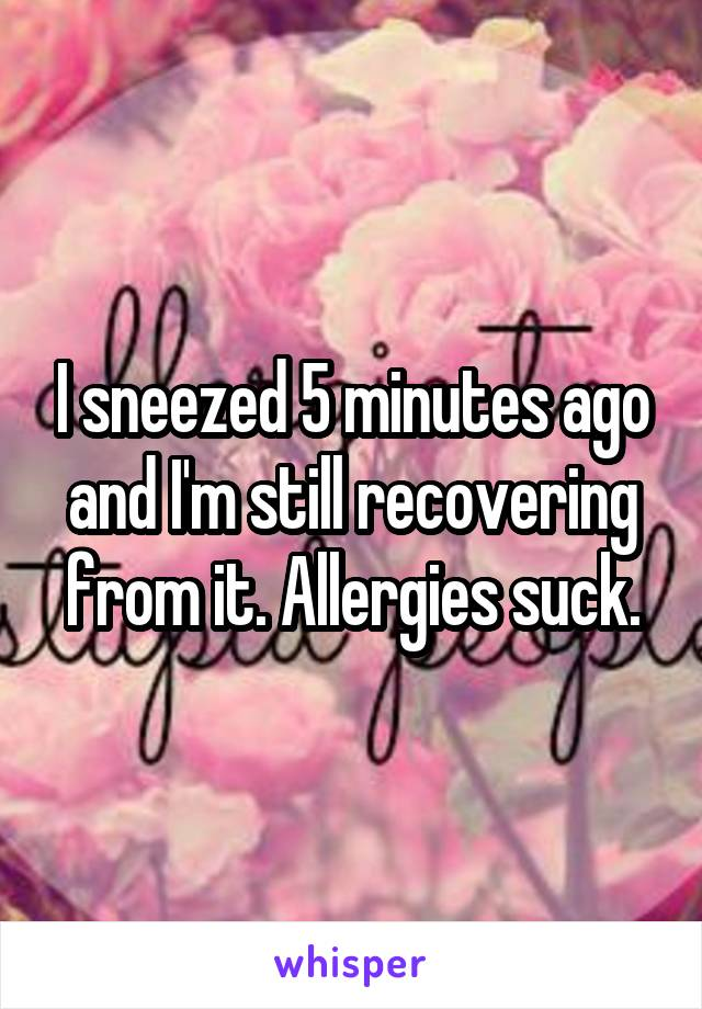 I sneezed 5 minutes ago and I'm still recovering from it. Allergies suck.