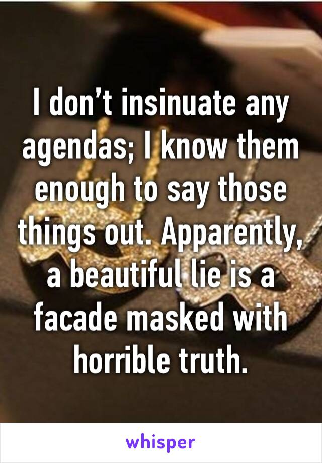I don't insinuate any agendas; I know them enough to say those things out. Apparently, a beautiful lie is a facade masked with horrible truth.