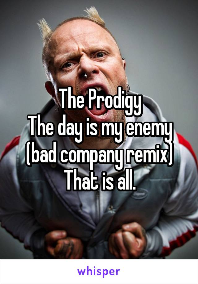 The Prodigy The day is my enemy (bad company remix) That is all.