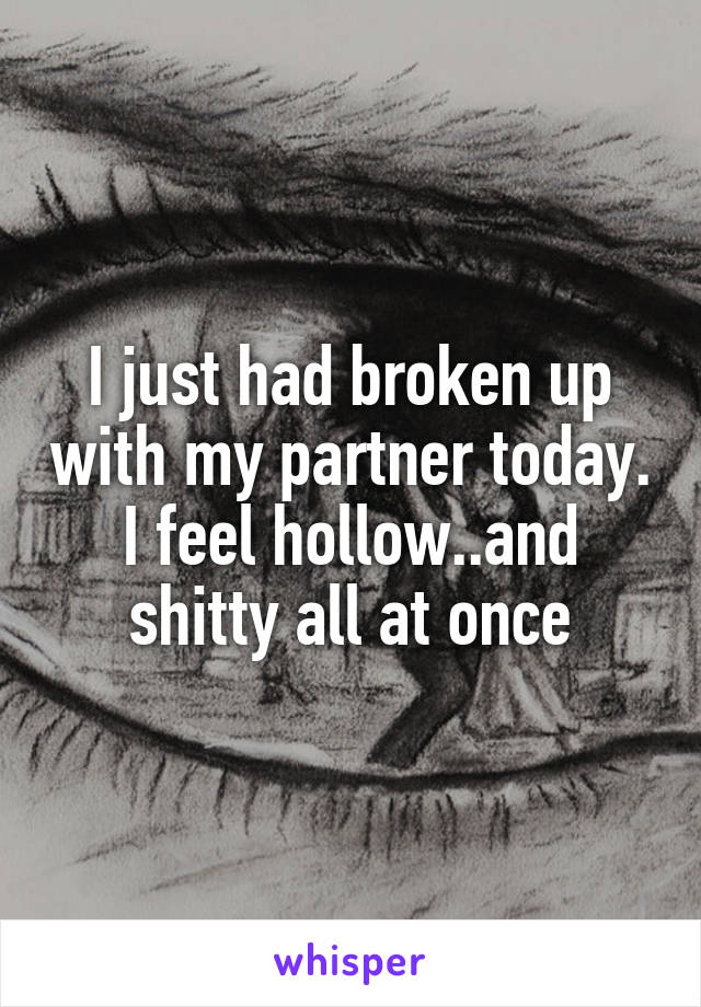 I just had broken up with my partner today. I feel hollow..and shitty all at once