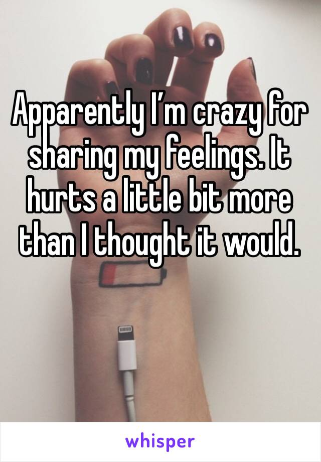 Apparently I'm crazy for sharing my feelings. It hurts a little bit more than I thought it would.
