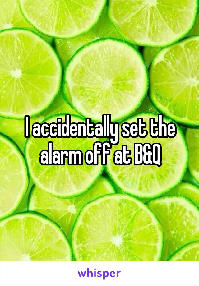 I accidentally set the alarm off at B&Q