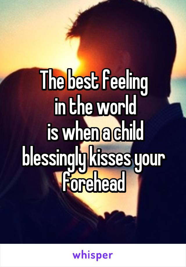 The best feeling  in the world  is when a child blessingly kisses your forehead