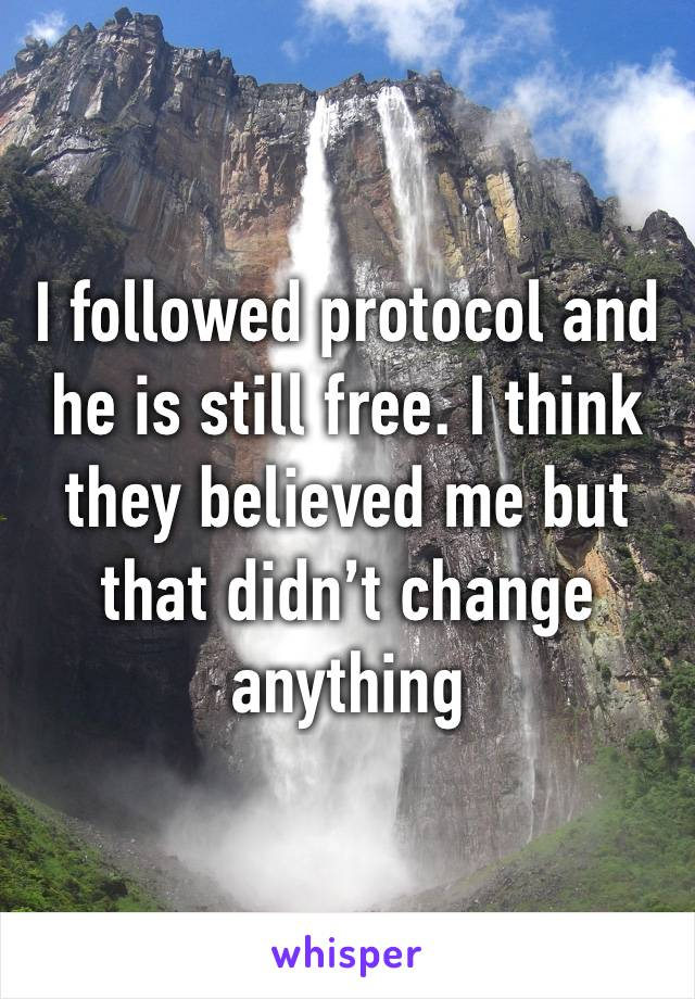 I followed protocol and he is still free. I think they believed me but that didn't change anything