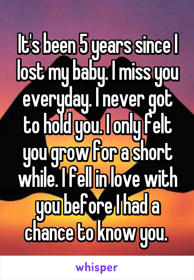 It's been 5 years since I lost my baby. I miss you everyday. I never got to hold you. I only felt you grow for a short while. I fell in love with you before I had a chance to know you.