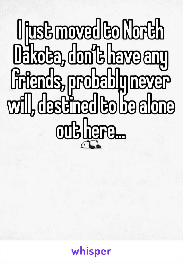 I just moved to North Dakota, don't have any friends, probably never will, destined to be alone out here...