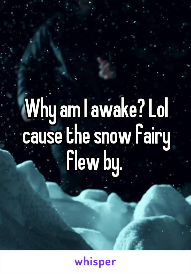 Why am I awake? Lol cause the snow fairy flew by.