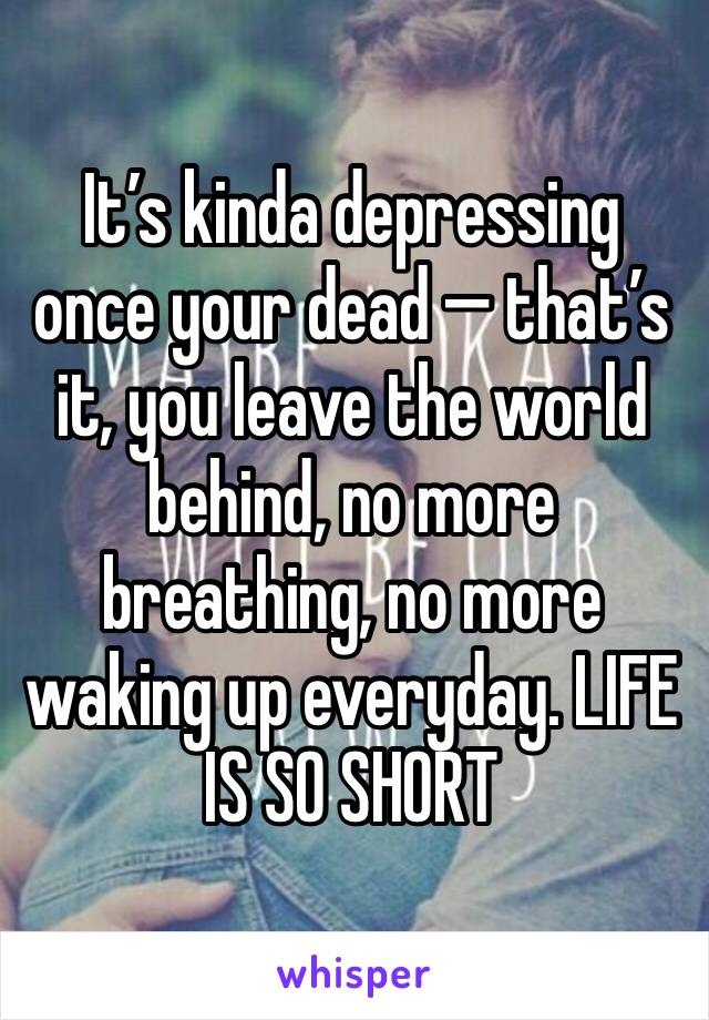 It's kinda depressing once your dead — that's it, you leave the world behind, no more breathing, no more waking up everyday. LIFE IS SO SHORT