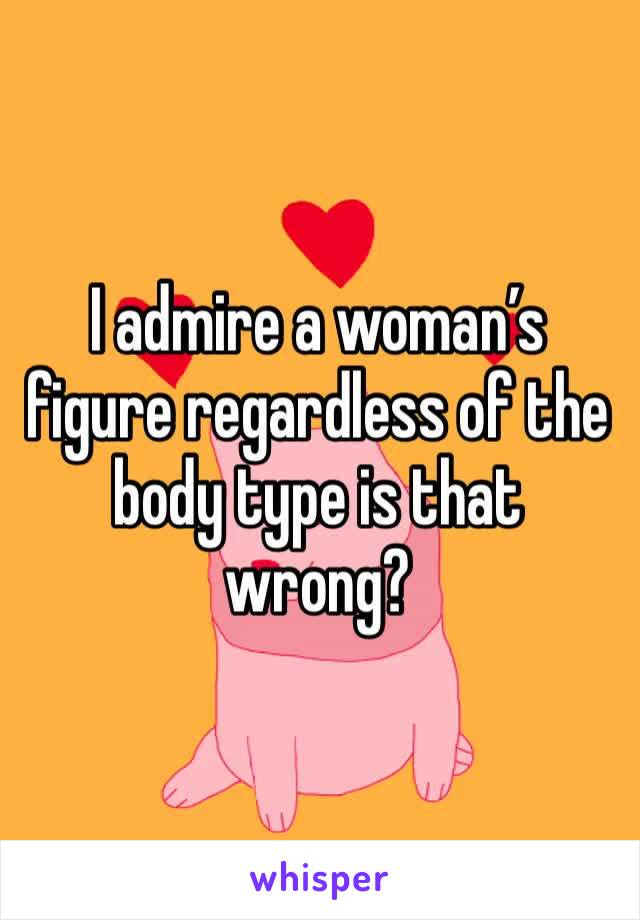 I admire a woman's figure regardless of the body type is that wrong?