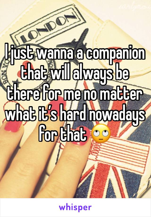 I just wanna a companion that will always be there for me no matter what it's hard nowadays for that 🙄