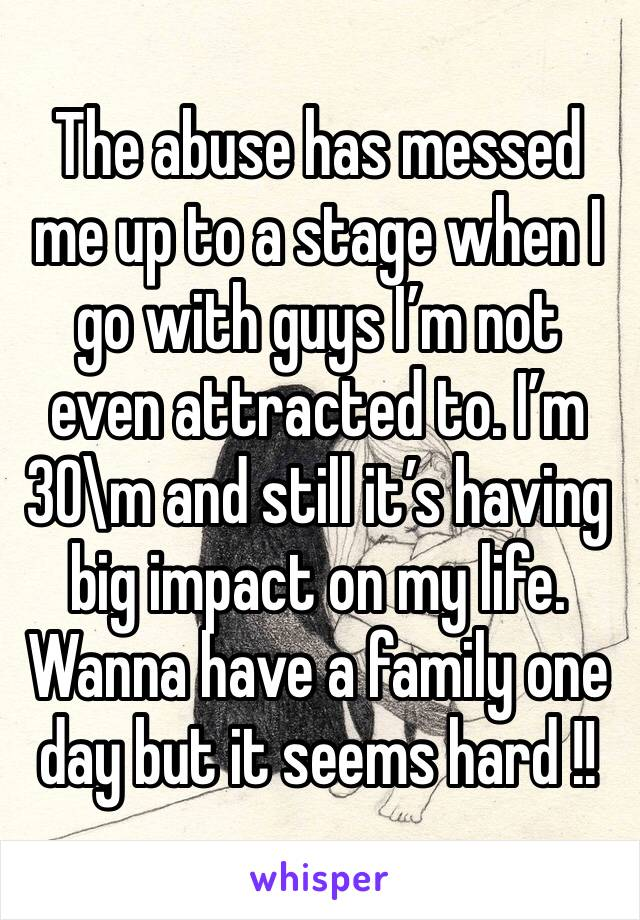 The abuse has messed me up to a stage when I go with guys I'm not even attracted to. I'm 30\m and still it's having big impact on my life. Wanna have a family one day but it seems hard !!