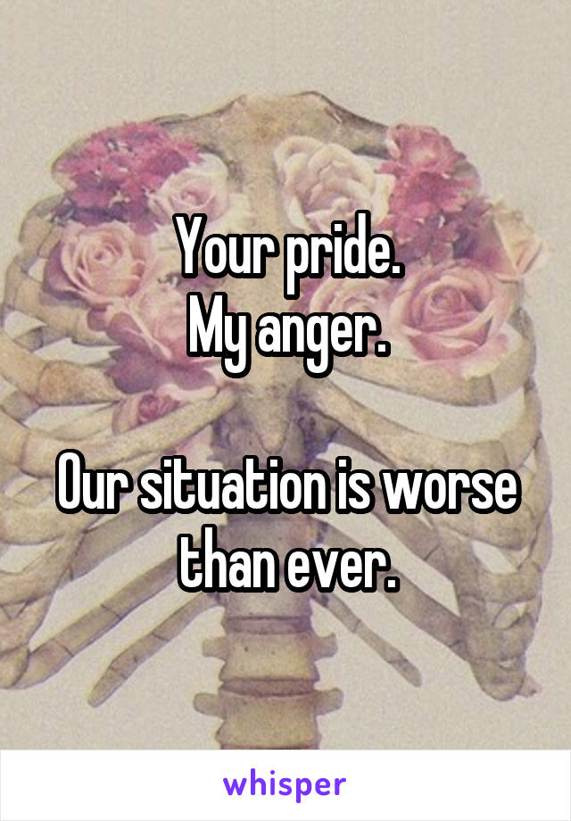 Your pride. My anger.  Our situation is worse than ever.