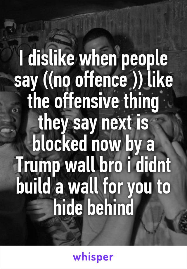 I dislike when people say ((no offence )) like the offensive thing they say next is blocked now by a Trump wall bro i didnt build a wall for you to hide behind