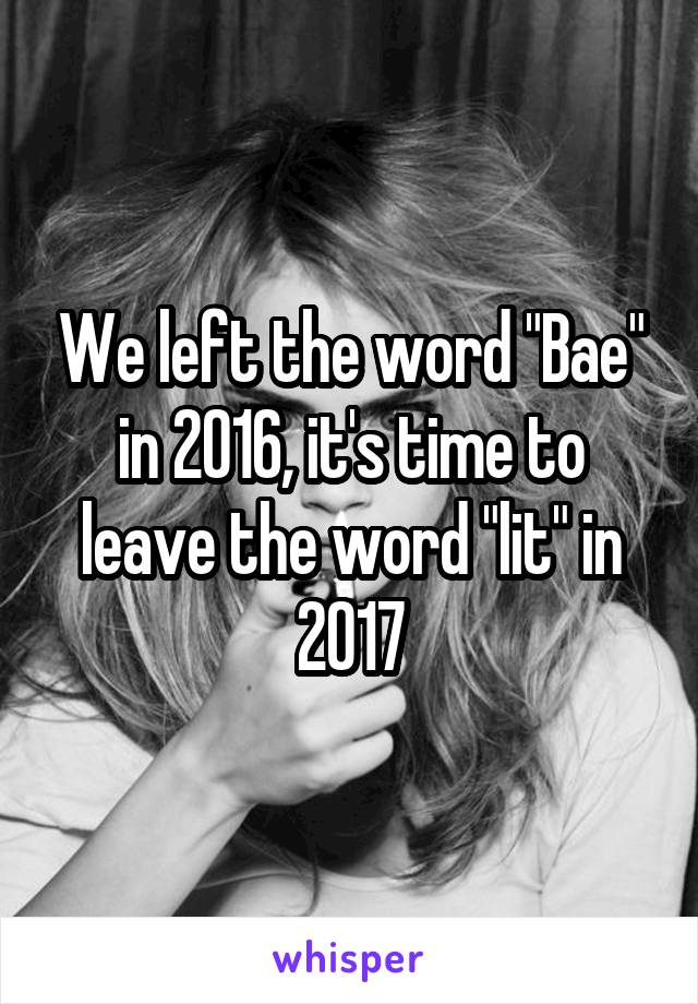 "We left the word ""Bae"" in 2016, it's time to leave the word ""lit"" in 2017"