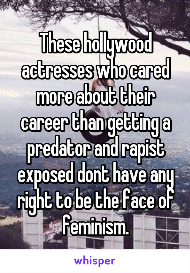 These hollywood actresses who cared more about their career than getting a predator and rapist exposed dont have any right to be the face of feminism.