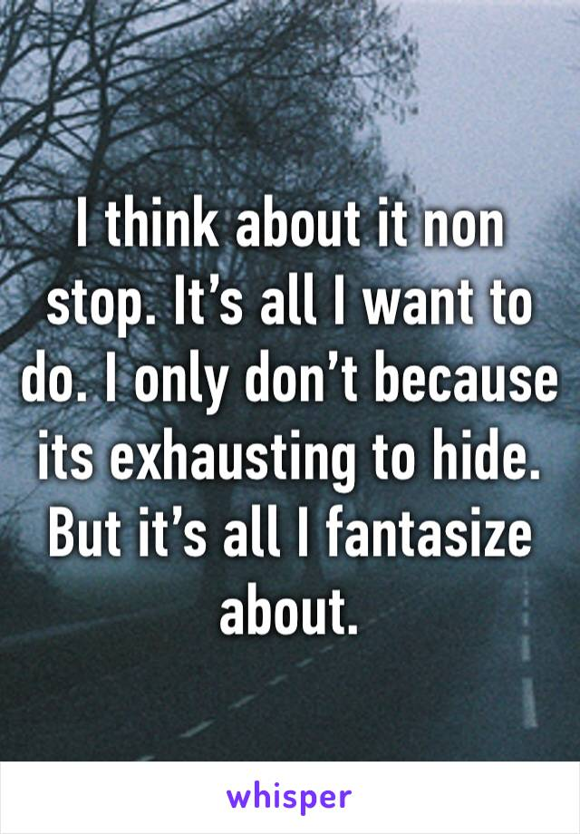 I think about it non stop. It's all I want to do. I only don't because its exhausting to hide. But it's all I fantasize about.
