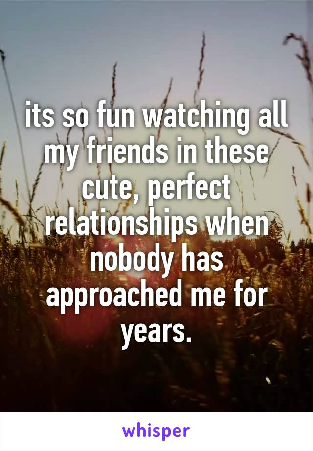 its so fun watching all my friends in these cute, perfect relationships when nobody has approached me for years.