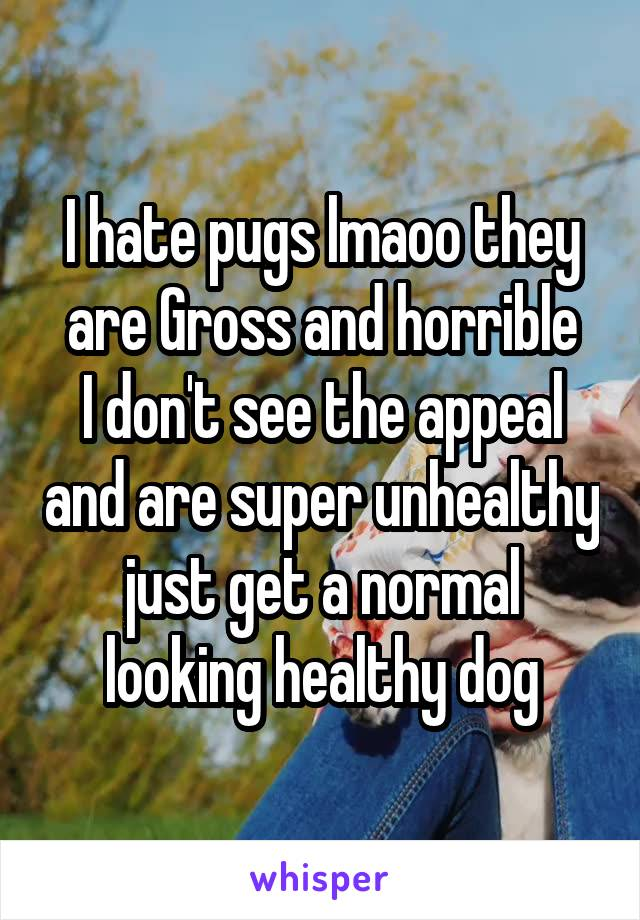 I hate pugs lmaoo they are Gross and horrible I don't see the appeal and are super unhealthy just get a normal looking healthy dog