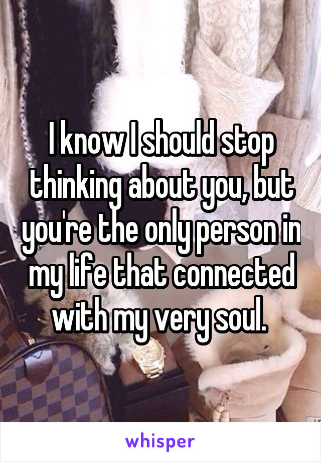 I know I should stop thinking about you, but you're the only person in my life that connected with my very soul.