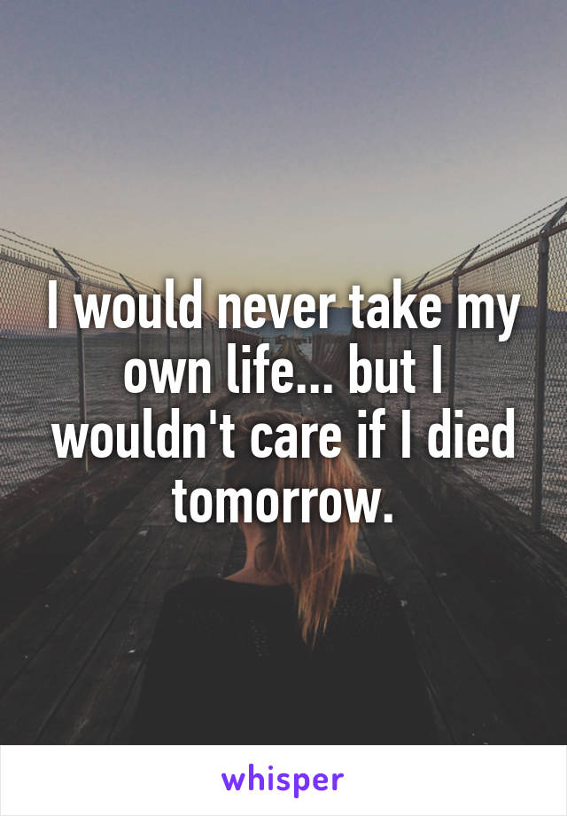 I would never take my own life... but I wouldn't care if I died tomorrow.