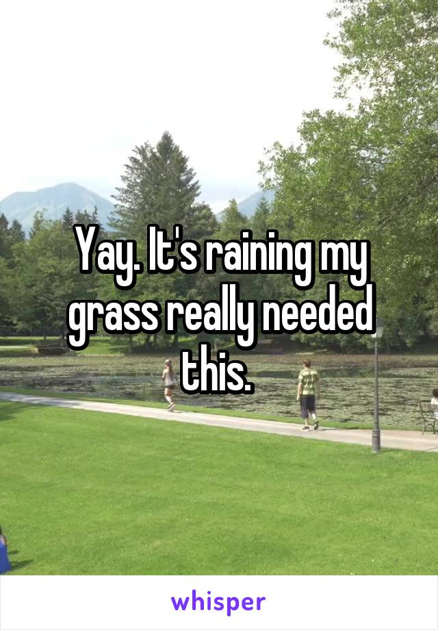 Yay. It's raining my grass really needed this.