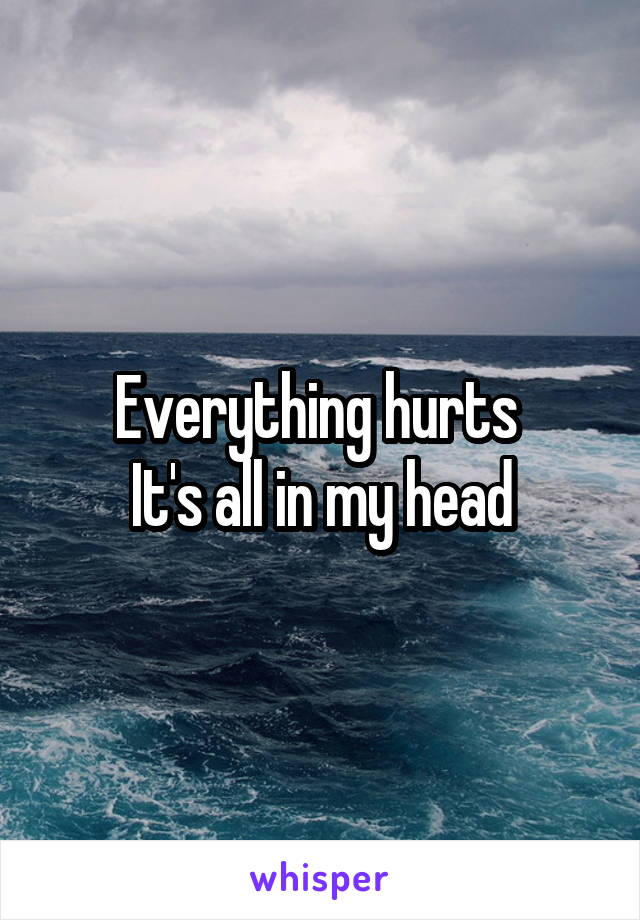 Everything hurts  It's all in my head
