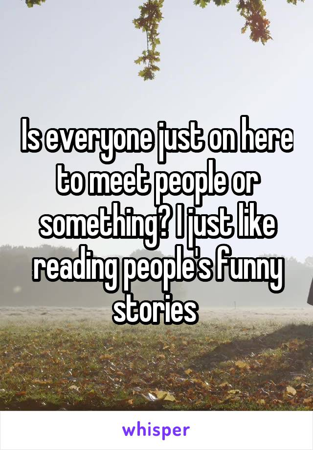 Is everyone just on here to meet people or something? I just like reading people's funny stories