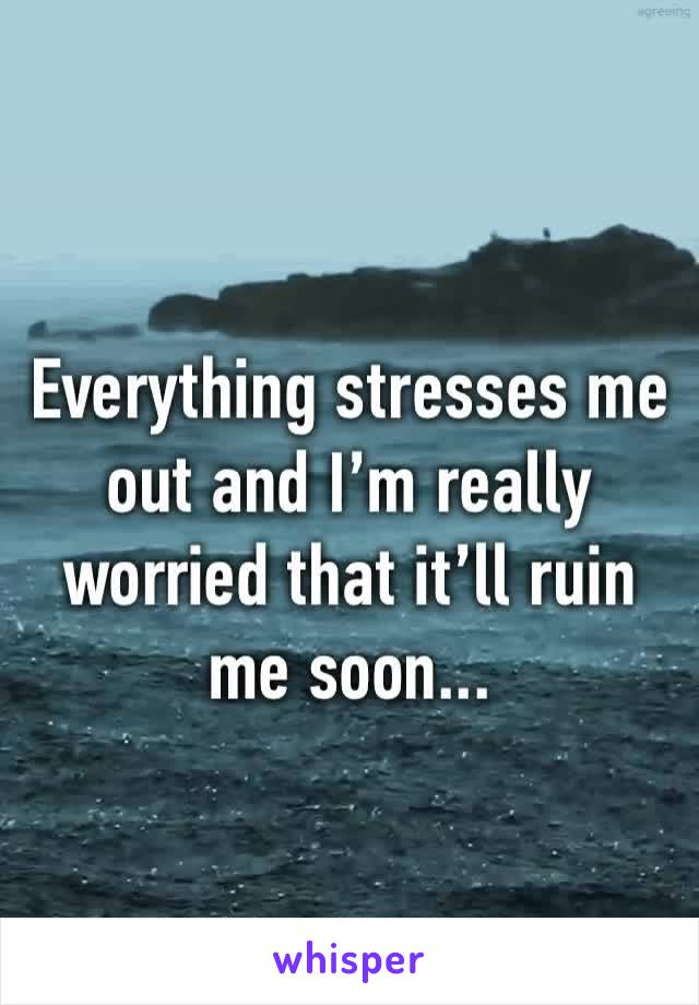 Everything stresses me out and I'm really worried that it'll ruin me soon...