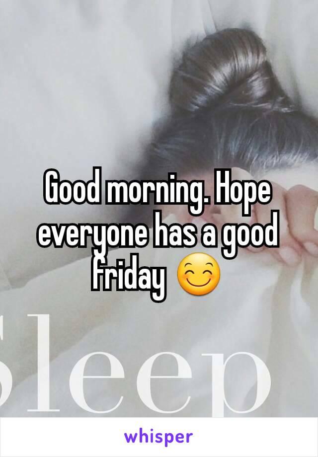Good morning. Hope everyone has a good friday 😊