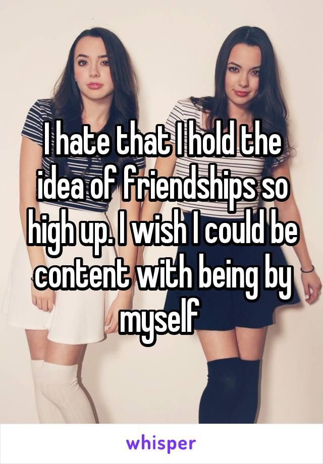 I hate that I hold the idea of friendships so high up. I wish I could be content with being by myself