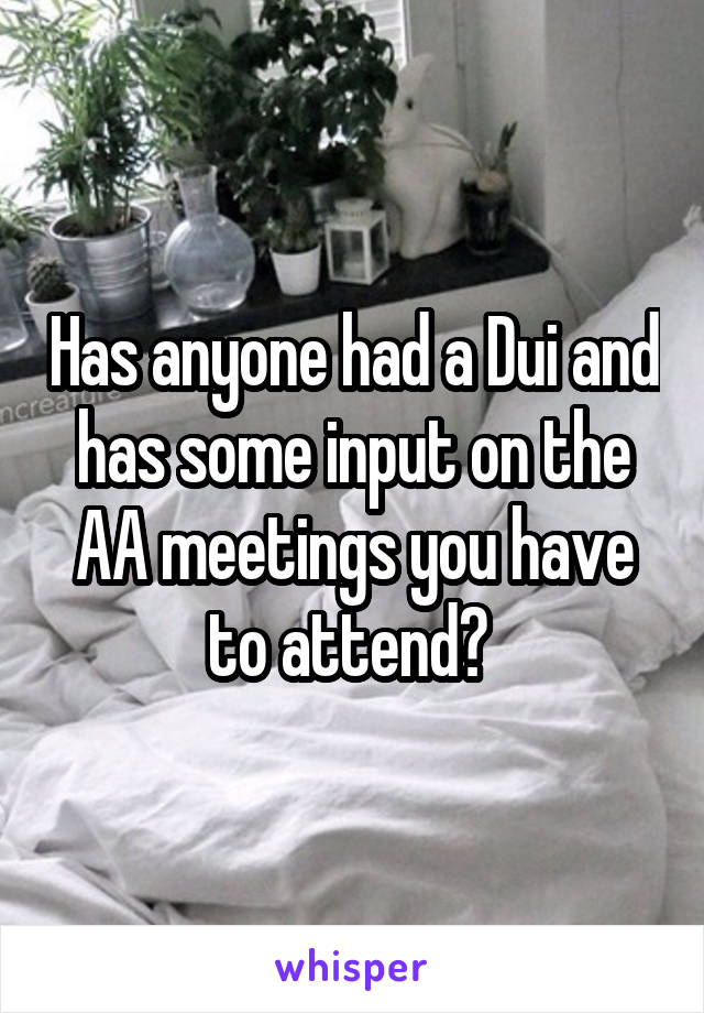 Has anyone had a Dui and has some input on the AA meetings you have to attend?