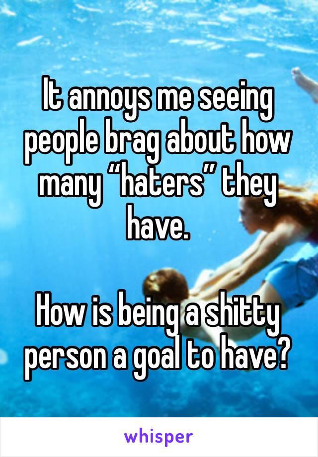 """It annoys me seeing people brag about how many """"haters"""" they have.   How is being a shitty person a goal to have?"""
