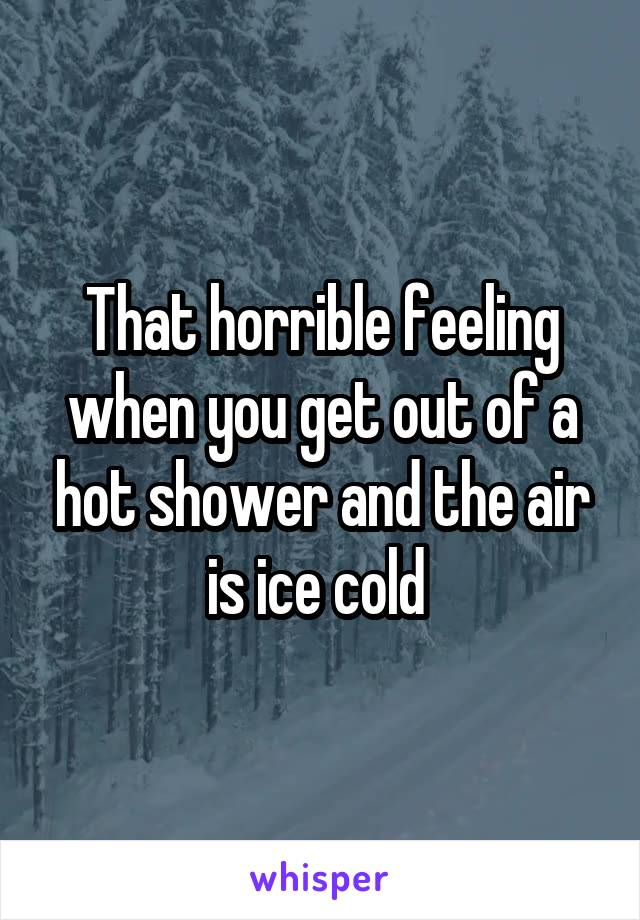 That horrible feeling when you get out of a hot shower and the air is ice cold