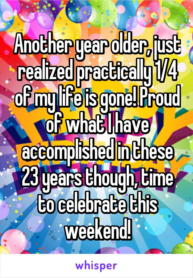 Another year older, just realized practically 1/4 of my life is gone! Proud of what I have accomplished in these 23 years though, time to celebrate this weekend!