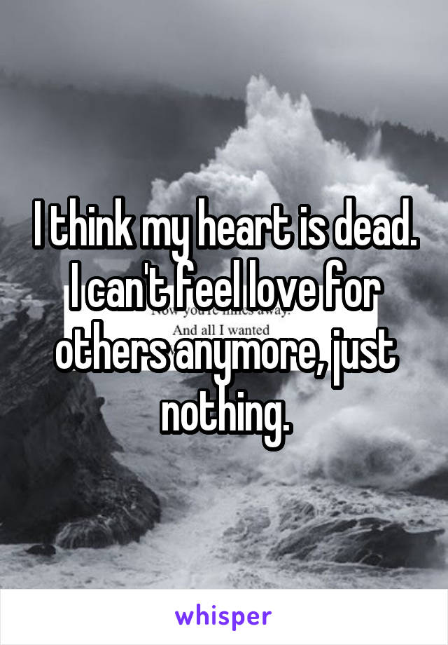 I think my heart is dead. I can't feel love for others anymore, just nothing.