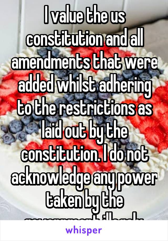I value the us constitution and all amendments that were added whilst adhering to the restrictions as laid out by the constitution. I do not acknowledge any power taken by the government illegaly.