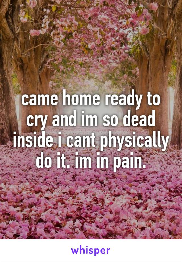 came home ready to cry and im so dead inside i cant physically do it. im in pain.