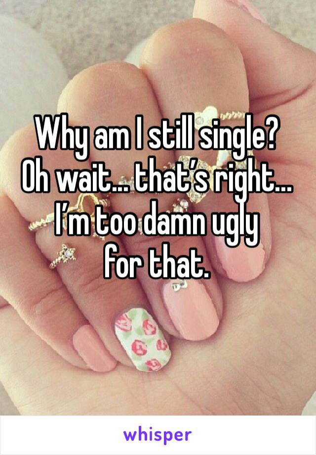 Why am I still single? Oh wait... that's right... I'm too damn ugly for that.