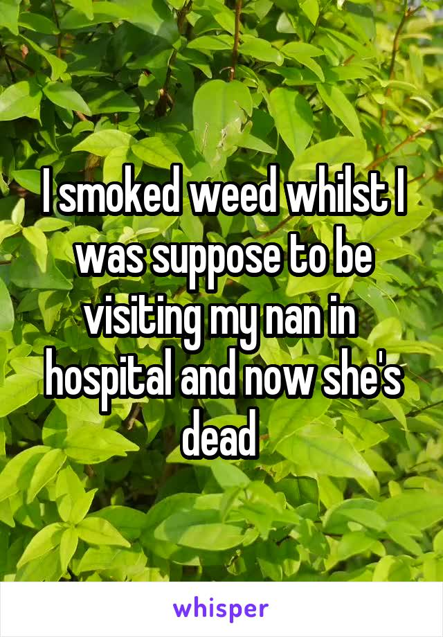 I smoked weed whilst I was suppose to be visiting my nan in  hospital and now she's dead