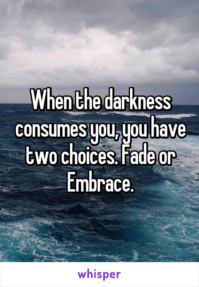 When the darkness consumes you, you have two choices. Fade or Embrace.