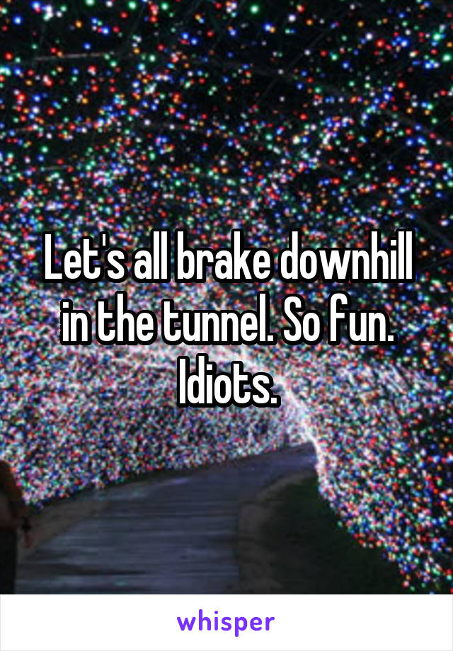 Let's all brake downhill in the tunnel. So fun. Idiots.
