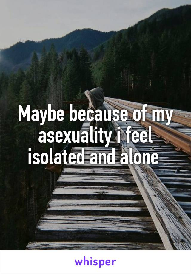Maybe because of my asexuality i feel isolated and alone