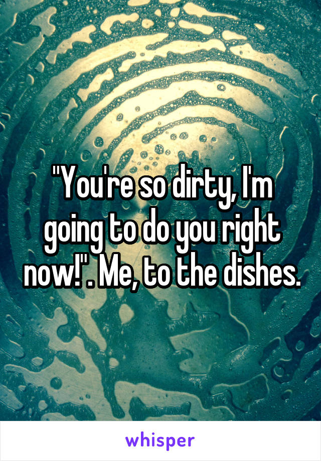 """You're so dirty, I'm going to do you right now!"". Me, to the dishes."