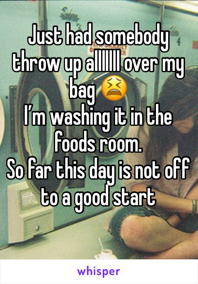 Just had somebody throw up alllllll over my bag 😫  I'm washing it in the foods room.  So far this day is not off to a good start